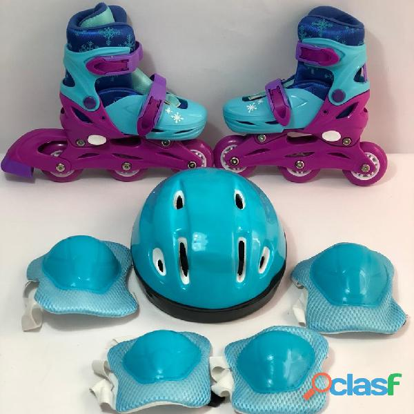 Combo kit patines linea niña semiprofesionales economico frozen
