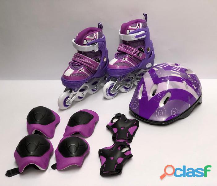 Kit combo patines linea niños semiprofesionales economico morado