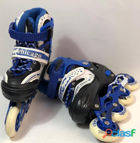 Kit patines linea niños semiprofesionales economico azul s