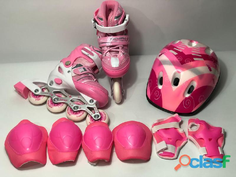 Kit patines linea niños semiprofesionales economico rosado
