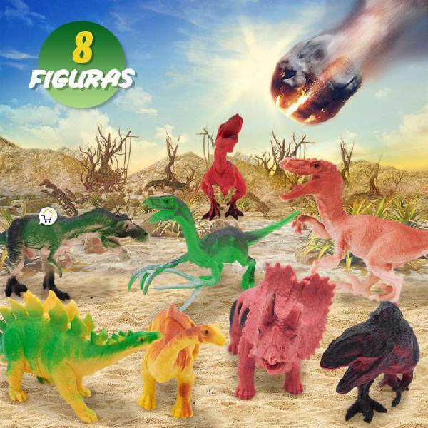 Figuras de dinosaurios coleccionables x8 juguete didáctico