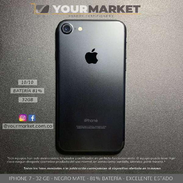 Iphone 7 / negro mate / 32 gb / excelente estado / 100%
