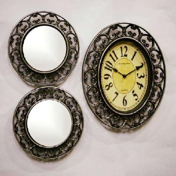 Reloj pared juego 3 piezas con 2 espejos