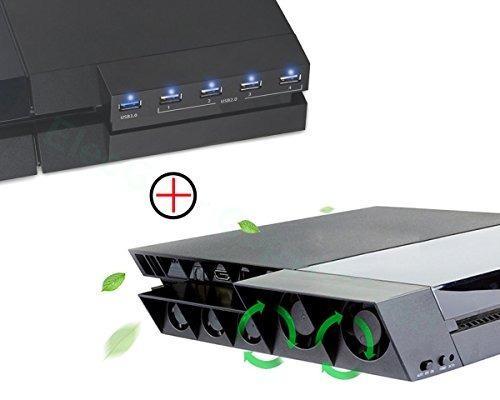 Ventilador De Ps4 Y Kit Combi Usb Hub Elecgear Refrigerador