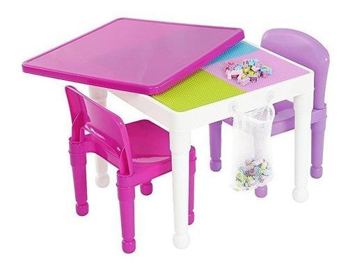 Niñas y niños mesa y sillas pink plastic lego compatible