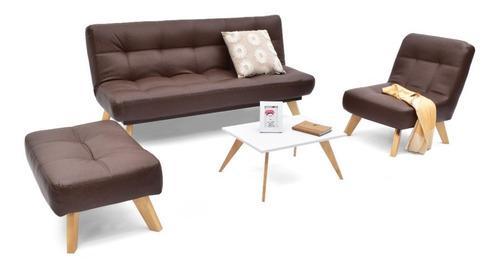 Sala porto en cuero sintético duo + mesa de centro nova