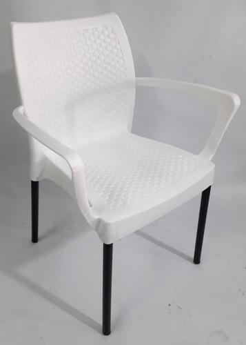 Silla plastica con pata metalica diseño eva con brazo bar