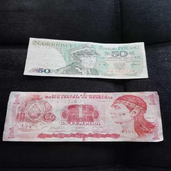 Billete polonia 1988 y billete honduras 2014