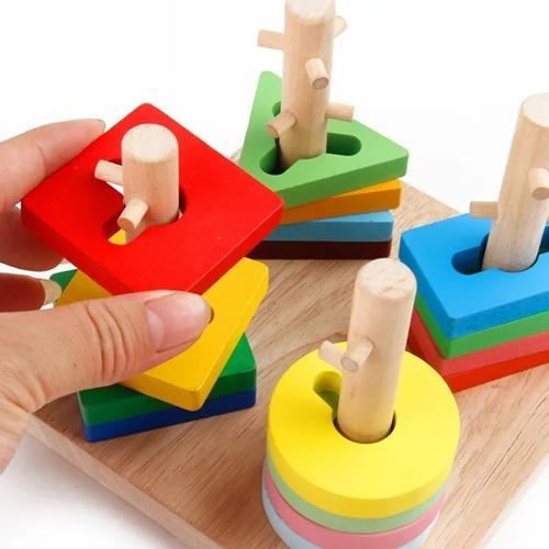 Juego de motricidad fina niños figuras geométricas madera