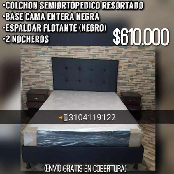 Base cama más colchón semiortopedico espaldar y 2 nocheros