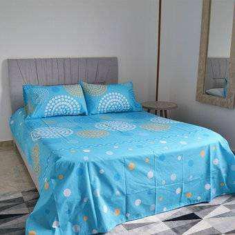 Juego de sábanas cama extradoble hogareto estampada.