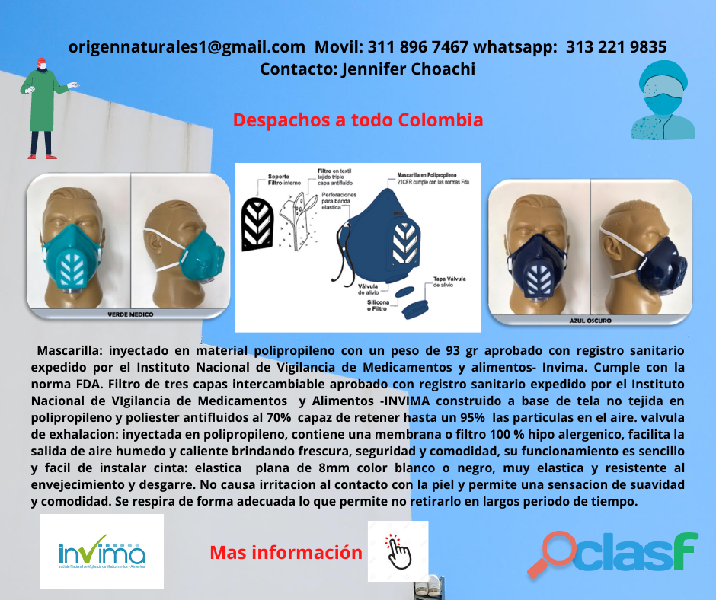 MASCARILLA TAPABOCAS ANTIFLUIDO EFICAZ 95 % REGISTRO SANITARIO INVIMA