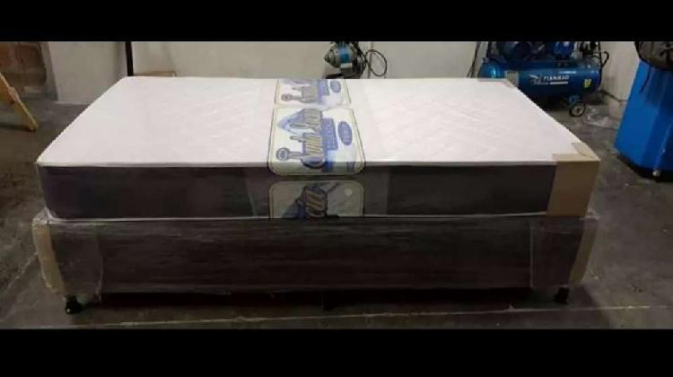 Base cama y colchón semiortopedico resortado