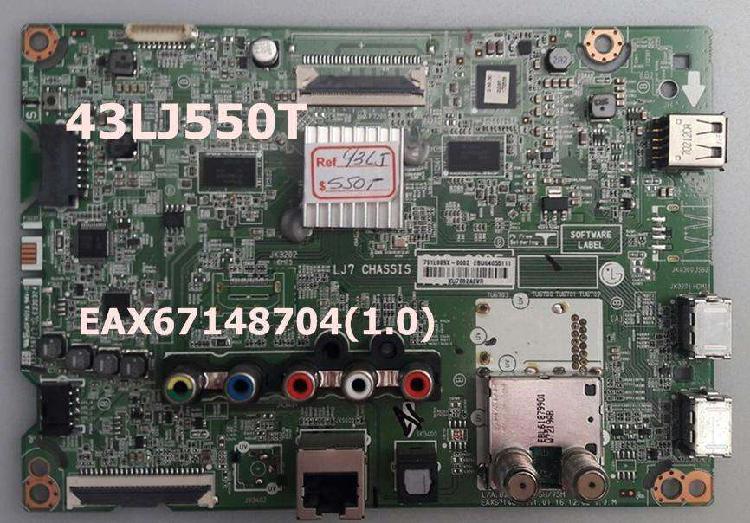 Main board, fuente y tcom para tv lg modelo 43lj550t