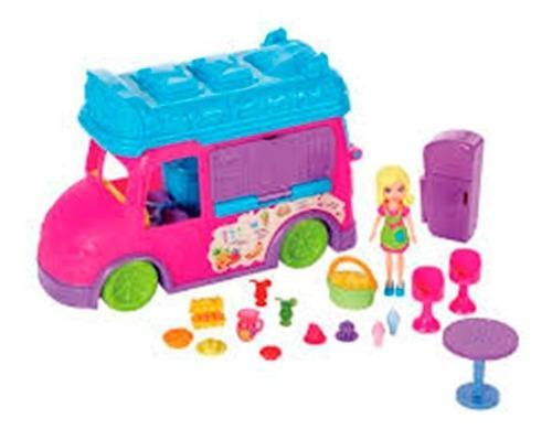 Polly pocket camion restaurante con accesorio se transforma