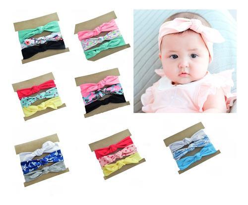 Balacas, turbantes moño diademas ropa bebé niña set por 3