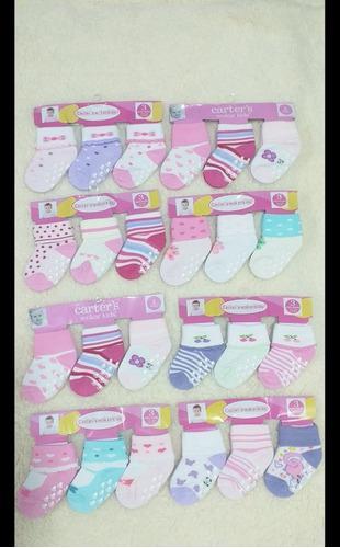 Medias para bebé niña con antideslizante por 3 pares 12-24