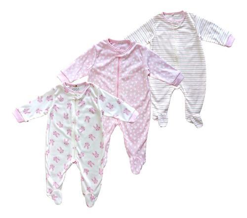 Pijamas bebé niña set x 3 estampadas choco miel