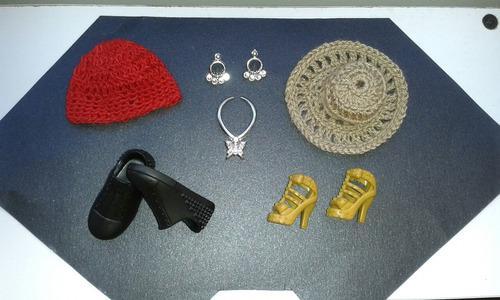 Accesorios sombreros zapatos zarcillos para barbie y ken