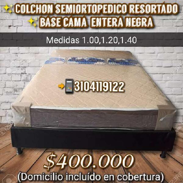 Base cama con colchón semiortopedico