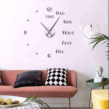 Reloj pared 3d grande plateado/negro/dorado diseño moderno