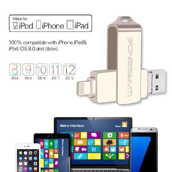 Memoria usb pen drive otg 32gb metalica para iphone apple e