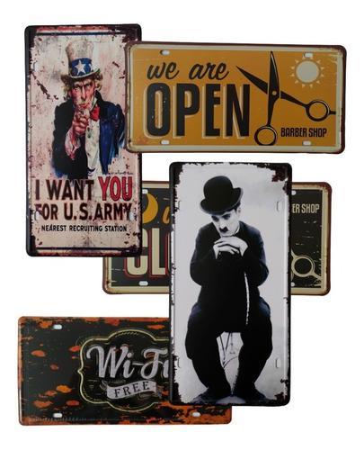 5 placas de metal decorativas estilo vintage 15*30 cm
