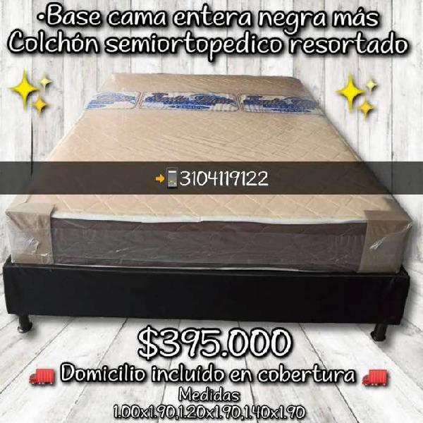 Base cama más colchón semiortopedico