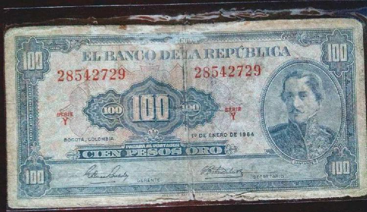 Billete 100 pesos oro 1964
