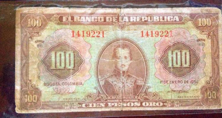 Billete 100 pesos oro de 1951