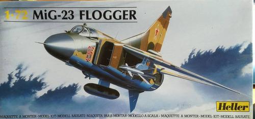 Modelo de armar avion mig-23 a escala 1/72 marca heller