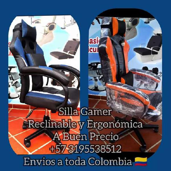 Silla gamer reclinable y ergonómica