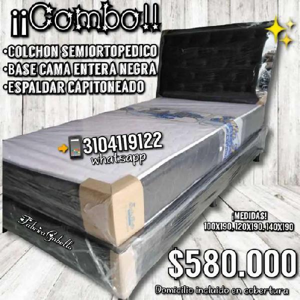 Espaldar capitoneado + base cama y colchón semiortopedico