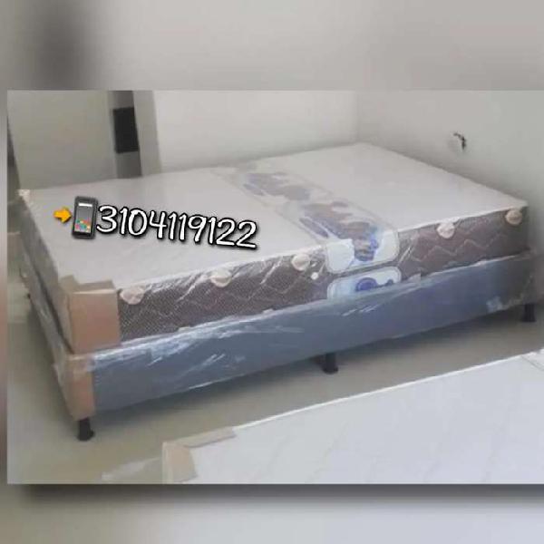 Base cama y colchon resortado