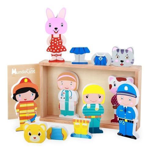 Juego bloques montessori vestir personajes juguete roles