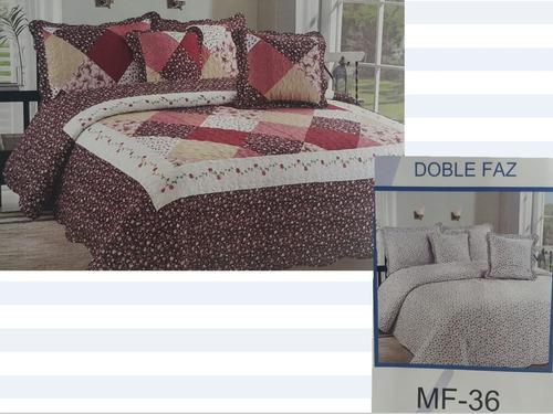 Cubrelecho tipo español cama doble, doble faz edredón