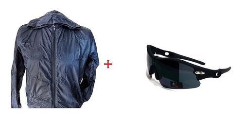 Chauqueta rompevientos +gafas deportivas