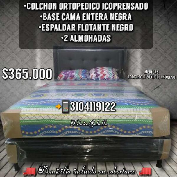 Base cama más colchón ortopedico espaldar y 2 almohadas