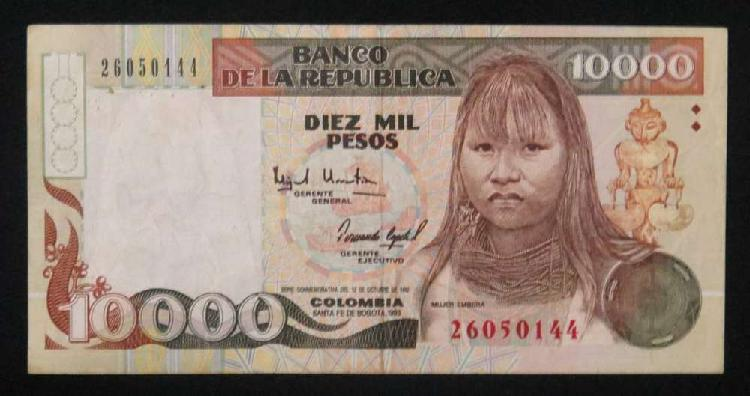 Billete 10.000 colombia mujer embera 1993