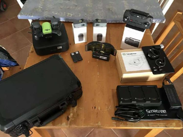 Drone dji spark con tablet y multiples accesorios
