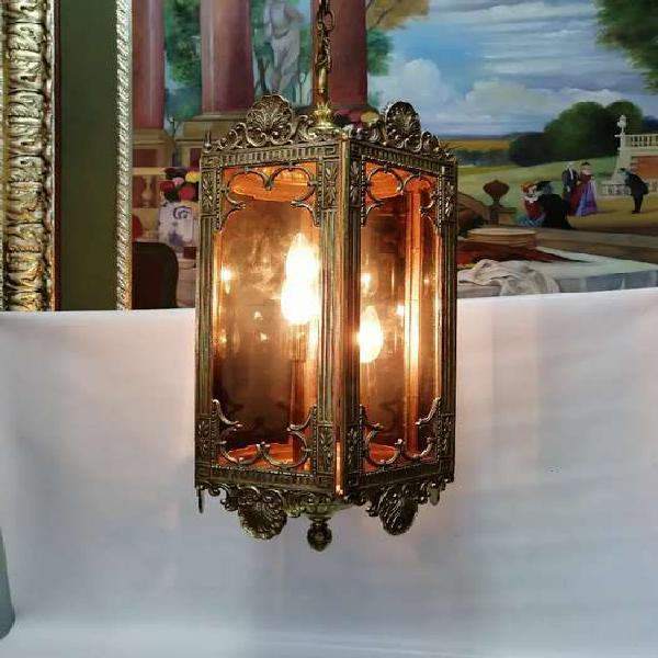 Farol lampara antigua francés 1890 antimonio y bronce