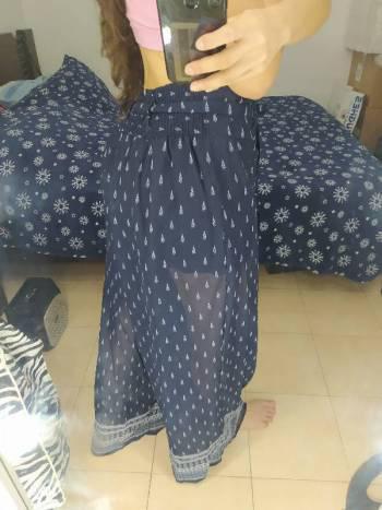 Pantalon seda azul