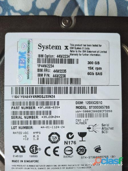 "Disco duro 300gb uscsi ultra scsi 3.5"" ibm eserver"