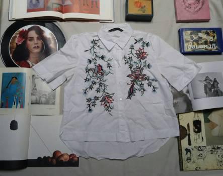 Camiseta blanca con bordados.