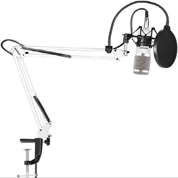Kit micrófono condensador stand estudio blanco neewer