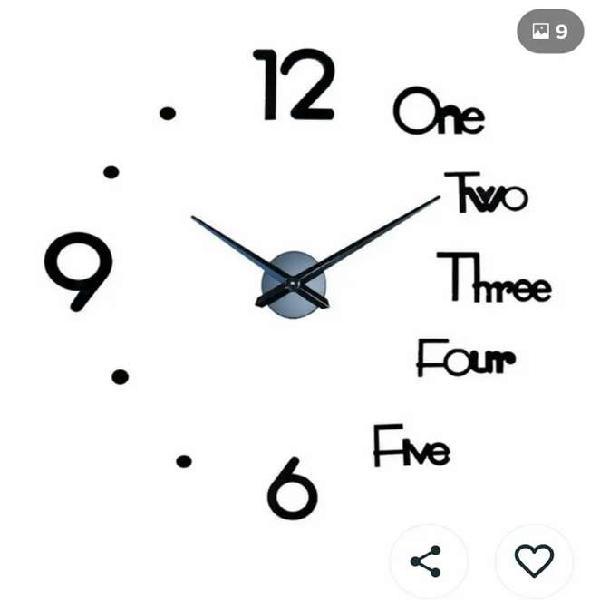 Reloj pared adhesivo tipo 3d mini