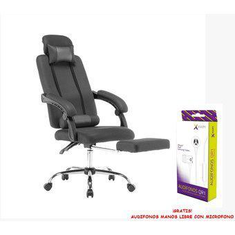 Silla gamer giratoria 2 almohadillas reclinable -negra