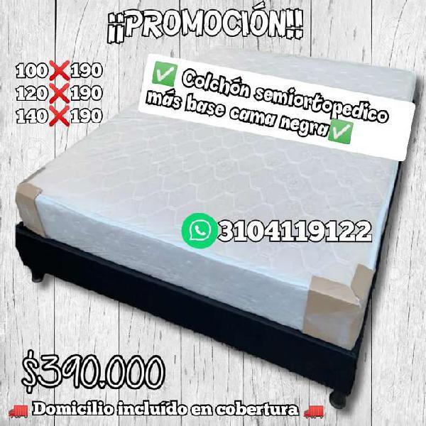 Colchón semiortopedico más base cama