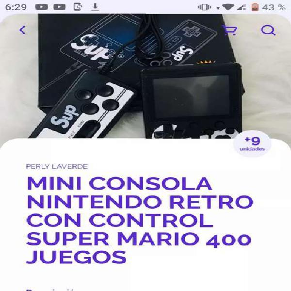 Mini consola nintendo retro con control súper mario 400