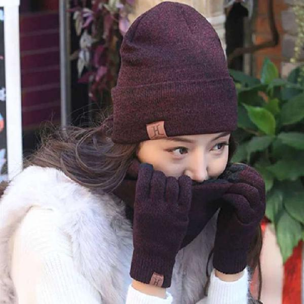 Gorro bufanda y guantes táctil